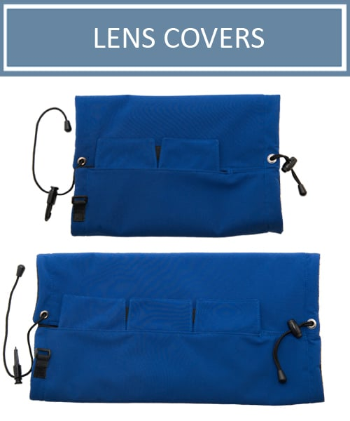 Lens cover extensions for protecting long lenses. To be used with a Camera Parka from AT Frosted Lens.
