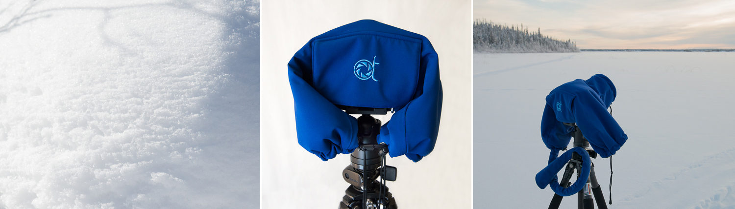 The Camera Parka from AT Frosted Lens is a cover protecting DSLR from cold, frost, wind, and rain for outdoor photography.