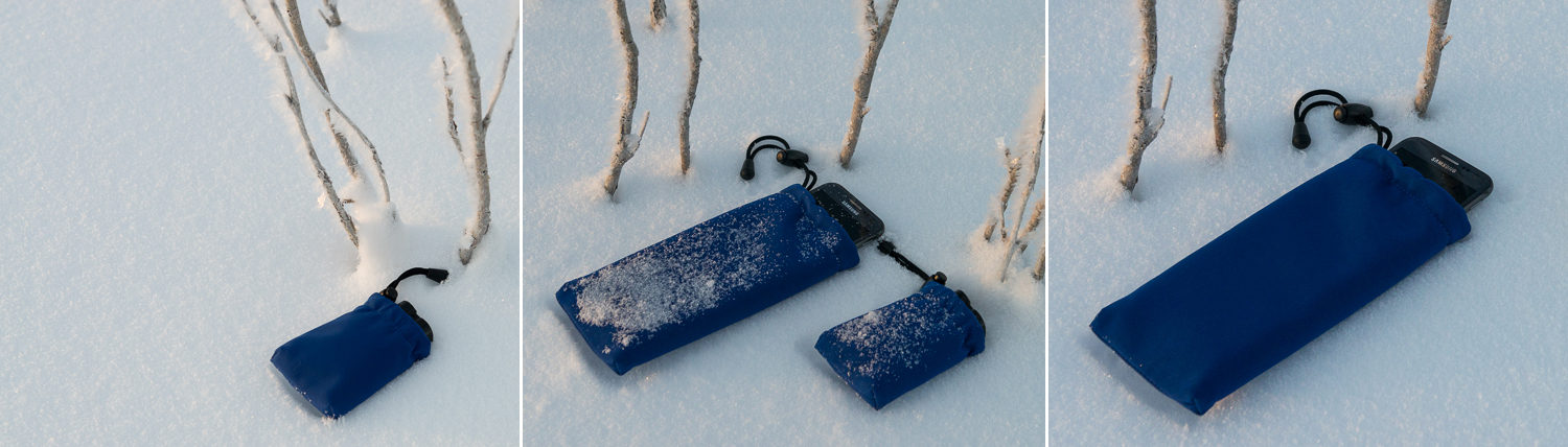 Protective and insulated bags for DSLR batteries and smartphones when outdoor in cold weather.