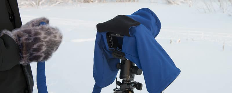 Using a camera cover, the camera parka, to protect a DSLR when photographing at extreme cold temperatures.