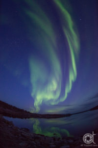Northern lights at Pontoon lake, 8:57pm, just after sunset
