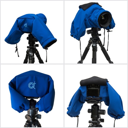 Camera parka with detailed views and specifications of the protective camera cover for DSLR