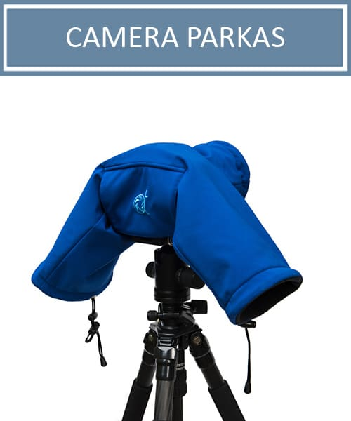 Camera Parka on a tripod, protective camera cover for DSLR from AT Frosted Lens